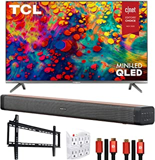 TCL 65R635 65-inch 6-Series 4K QLED Dolby Vision HDR Roku Smart TV Bundle with Deco Home Soundbar with Dual Subwoofers, Wa...
