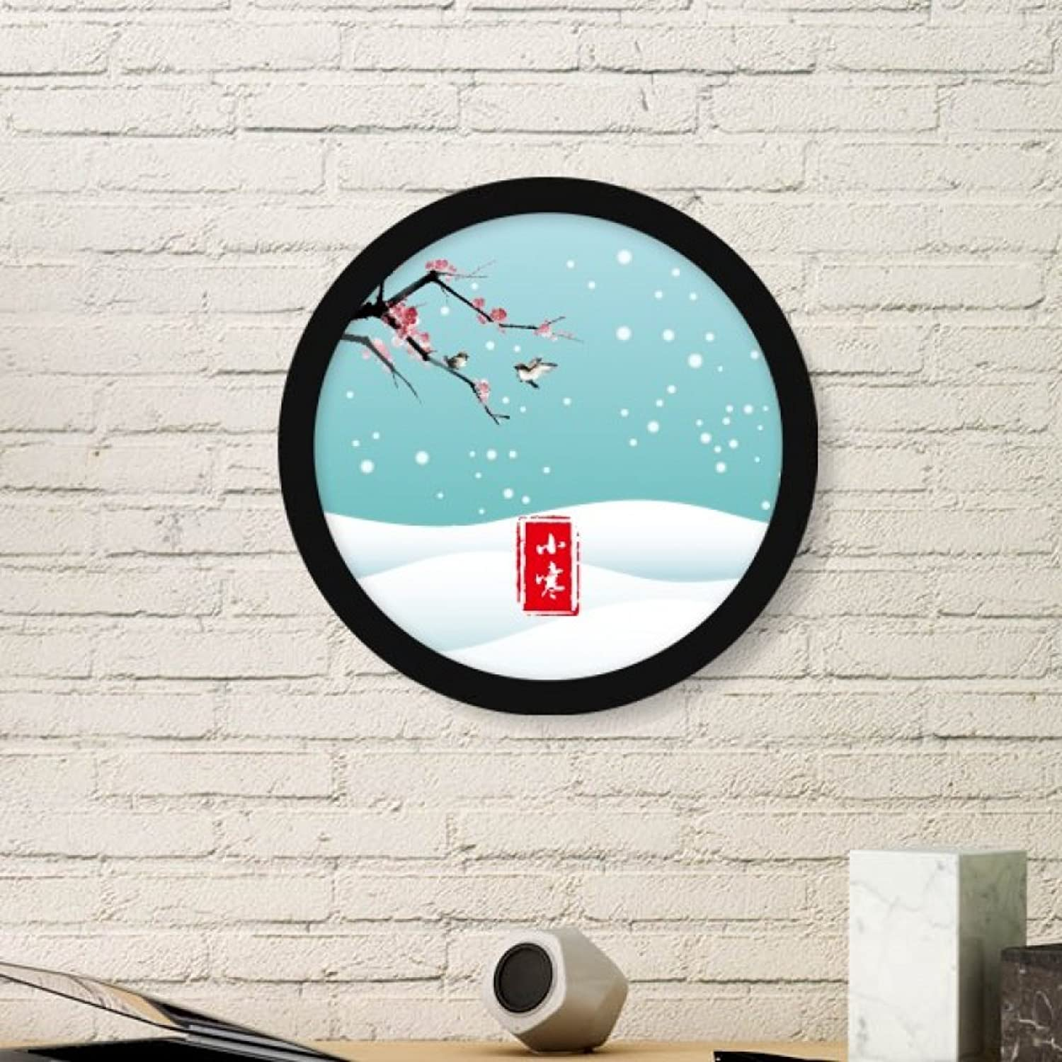 Circular Slight Cold Twenty Four Solar Term Art Painting Picture Photo Wooden Round Frame Home Wall Decor Gift