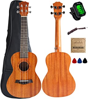 Concert Ukulele Mahogany 23 inch with Ukulele Accessories,5mm Sponge Padding Gig Bag,Strap,Nylon String,Electric Tuner,Picks