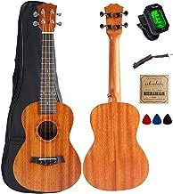 Concert Ukulele Mahogany 23 inch with Ukulele Accessories,5mm Sponge Padding Gig Bag,Strap,Nylon String,Electric Tuner,Picks