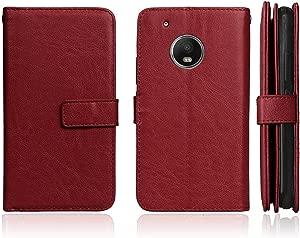 DENDICO Case for Moto Plus  Premium Leather Wallet Flip Moto Plus Case Shockproof Bumper Case  Slim Magnetic Cover with Card Holder Brown