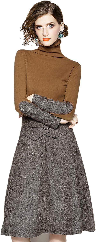 RQH Women's Elegant Long Sleeve Turtle Neck Knee Length ALine Swing Formal Dresses
