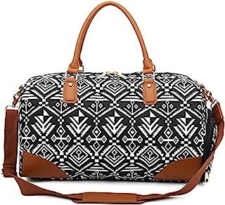 Gimay Weekend Travel Bag Women Overnight Duffle Canvas Tote Bags … (Geometric)