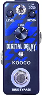 Koogo Digital Delay Echo Effect Pedal for Guitar Bass with 3 Modes Clear Normal Reverse