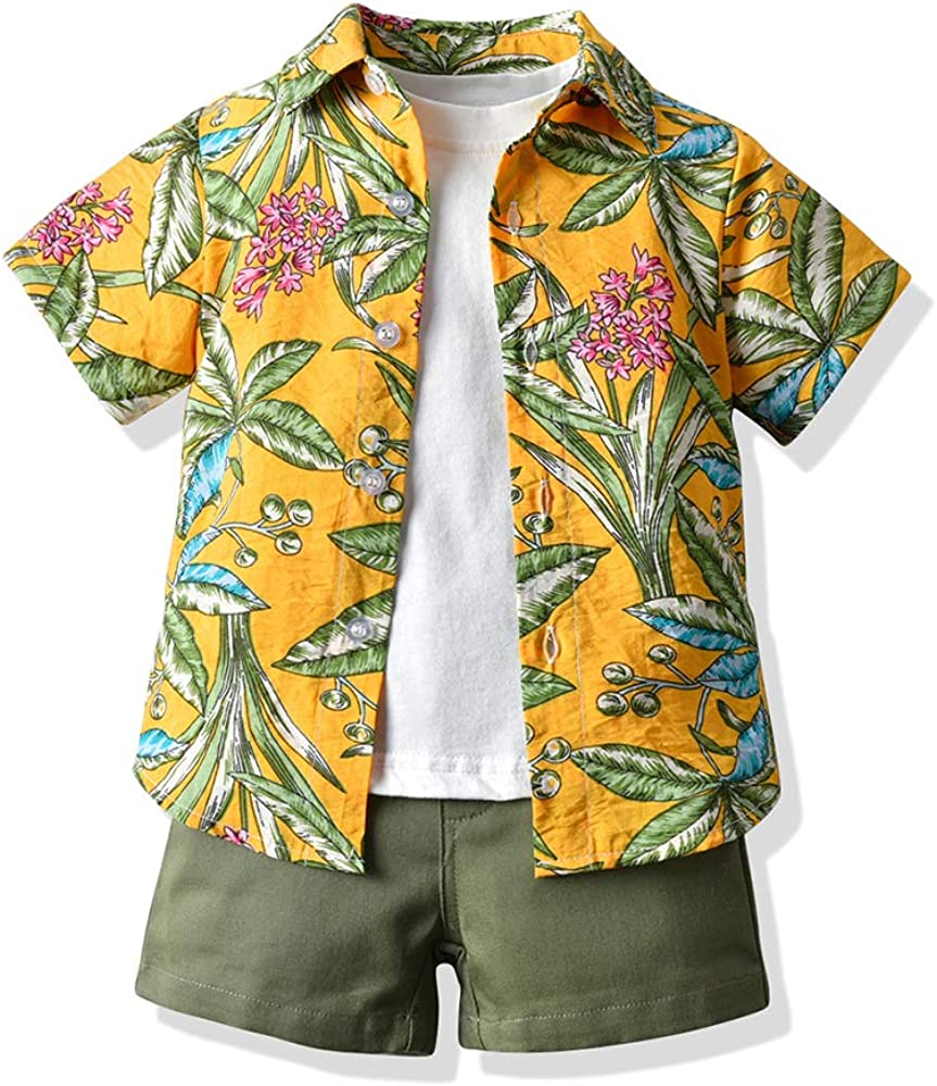 Toddler Baby Boy Hawaiian Outfit Clothes Aloha Beach Floral Short Sleeve Shirt+Shorts Set