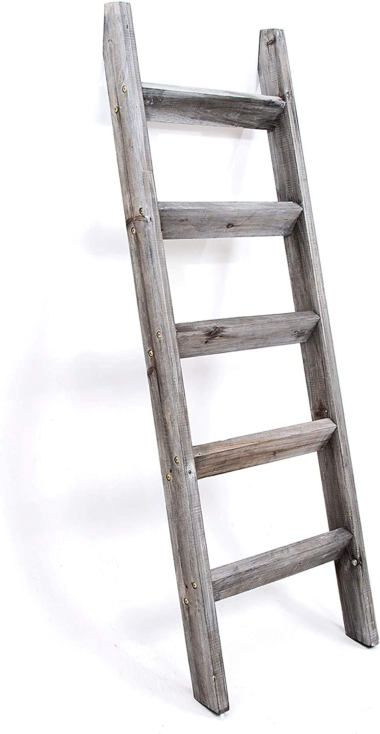 Hallops Blanket Ladder 5 New product! New type ft. Premium Rustic New popularity Wood Quil Decorative