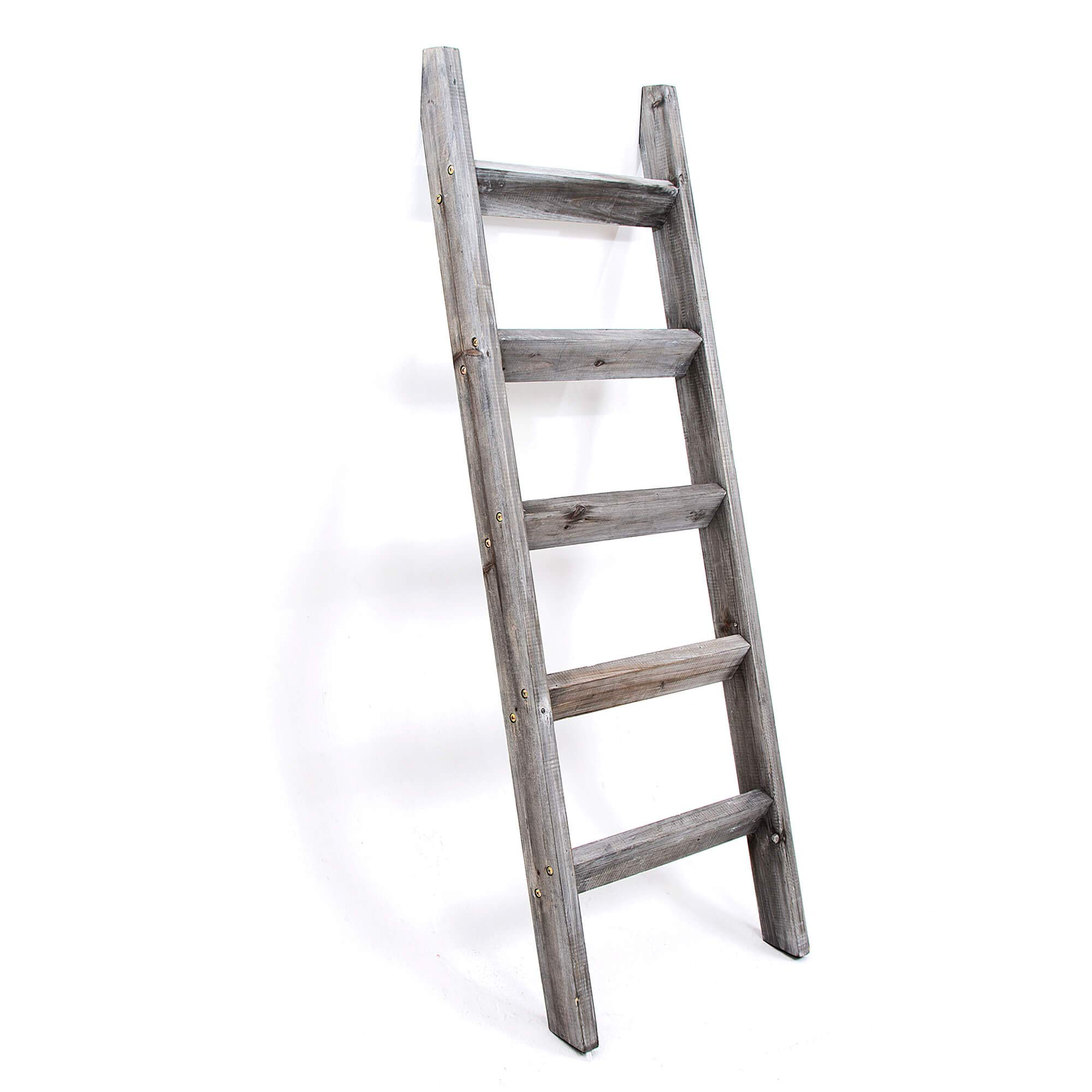Escalera de Manta de 5 pies Escalera Decorativa de Madera rústica de Primera Calidad. Decoración de Madera Vintage de Color Blanco. Soporte para Mantas: Amazon.es: Hogar