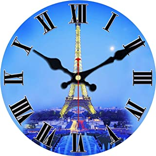 MEISTAR Eiffel Tower Wall Clock Europe Family Decoration Retro/Country/French Style Wooden Wall Clock Art Decor(12 Inches)