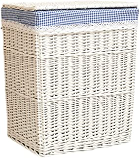 Q.AWOU Laundry Baskets Rattan Household Cotton Burlap Lining Dirty Hamper Clothes Sundries Indoor Storage Basket White (Size : 46 35 50cm)