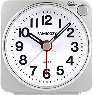 FAMICOZY Small Lightweight Travel Alarm Clock, Silent Non Ticking Analog Alarm Clock with Snooze and Light,Sound Crescendo,Mini Quartz Alarm Clock,Battery Operated(Silver)