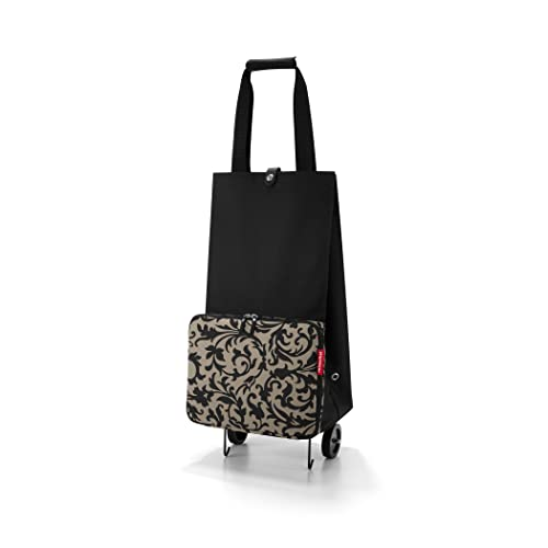 reisenthel Foldable Trolley Bag, Packable Oversized Tote with Wheels, Baroque Taupe