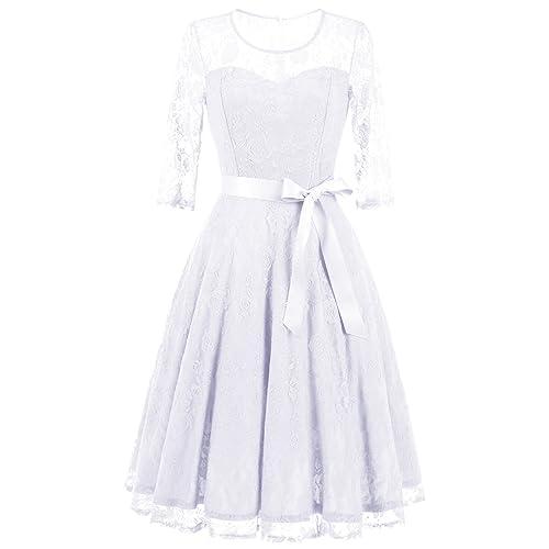 b0708ff1e2 Dressystar Women s Elegant Floral Lace Dress 3 4 Sleeves Bridesmaid Midi  Dresses Illusion Neckline