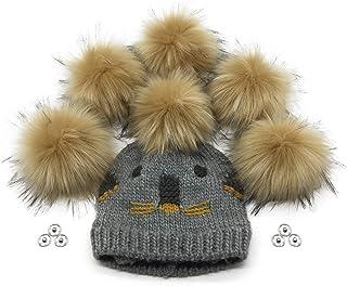 Furryvalley Lot de 6 balles de tricot à pompon en fausse fourrure à tricoter pour bonnet tricoté avec bouton pression amov...