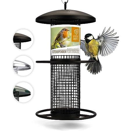 Mangeoire Oiseaux Exterieur 25cm - Distributeur Cacahuètes Oiseaux, Mangeoire à Oiseaux Distributeur Suspendu Imperméable d'Extérieur Mangeoire pour Oiseaux Sauvages