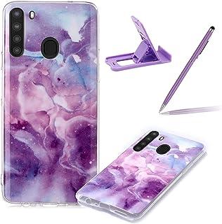 Herzzer Marble Cellphone Case for Samsung Galaxy A21,Stylish Women Men Slim Fit Soft Bumper Premium Shockproof TPU Anti-Sc...