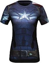 Cody Lundin® - Camiseta deportiva de manga corta para mujer, fitness, running, yoga, danza, diseño del superhéroe Capitán América