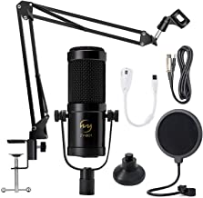 ZINGYOU Desktop Condenser Mic Set ZY-901 Professional Studio Microphone for Recording Cardioid Condenser PC Mic Comes with Miniature Stand and Adjustable Mic Stand