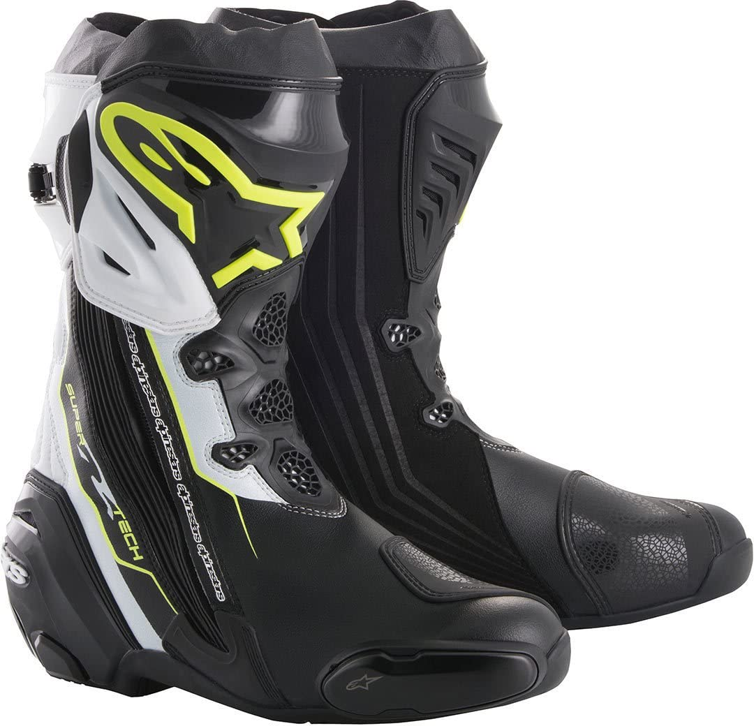 Black//White//Fluo 43 Alpinestars Motorcycle Boots Supertech R Black Yellow White