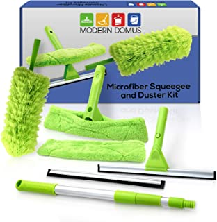 Telescopic Squeegee Window Cleaner Kit! Shower Squeegee, Window Cleaning Tools, Car Windshield Tool and Doors - Indoor/Outdoor Washing Equipment with Telescoping Pole FREE Duster and 2 Washer Heads