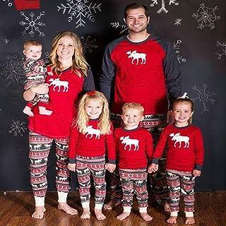 Ropa Familiar A Juego Conjuntos De Pijamas De Navidad Patrón De Ciervo Mamá Papá Y Bebé Y Niños Tops Rojos + Pantalones 2 Piezas Traje De Navidad