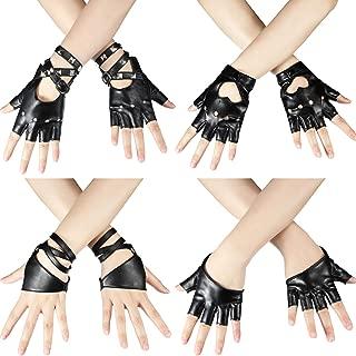 4 Pairs Women Punk Rivets Belt Half Finger Gloves PU Leather Performance Gloves Dance Gloves Jazz Style Gloves