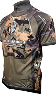FIGURE ARMOR Military-Woodland Digital Camo Men's Cycling Jersey Short-Sleeve Polyester Quick Dry