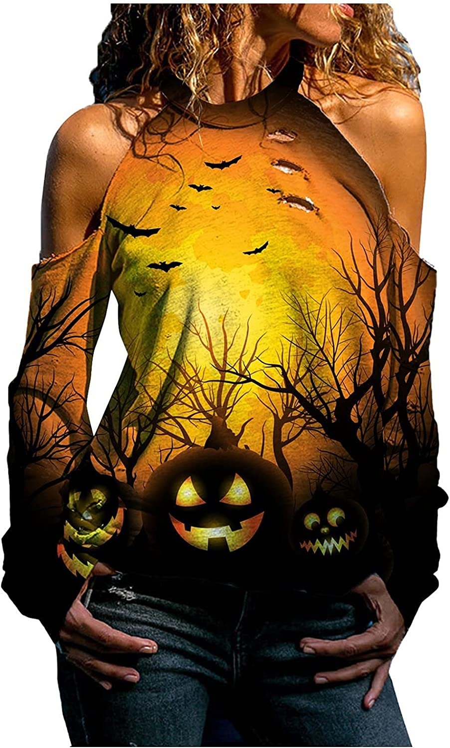 Womens Halloween Tunic Tops Cold Shoulder Fall Sexy Shirts Haunted House Long Sleeve Graphic Sweatshirt Pullover