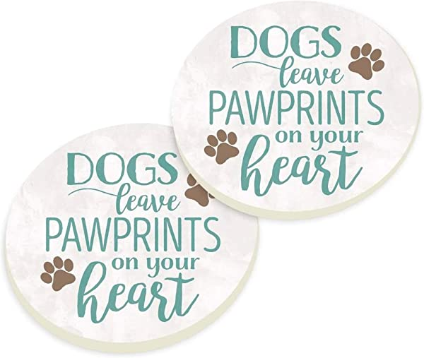 P Graham Dunn Dogs Leave Pawprints White 3 X 3 Absorbent Ceramic Car Coaster Pack Of 2