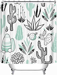 YOLIYANA Vector Floral Seamless Pattern Cactuses Succulents Vector Shower Curtain Waterproof Polyester Fabric Shower Curtain 79''Long x 71''Wide
