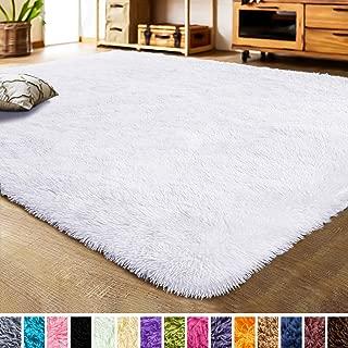 LOCHAS Luxury Velvet Living Room Carpet Bedroom Rugs, Fluffy, Super Soft Cozy, Bright Color, High Pile, Floor Area Rugs for Girls Room, Kids, Nursery and Baby (5.3x7.5 Feet, White)