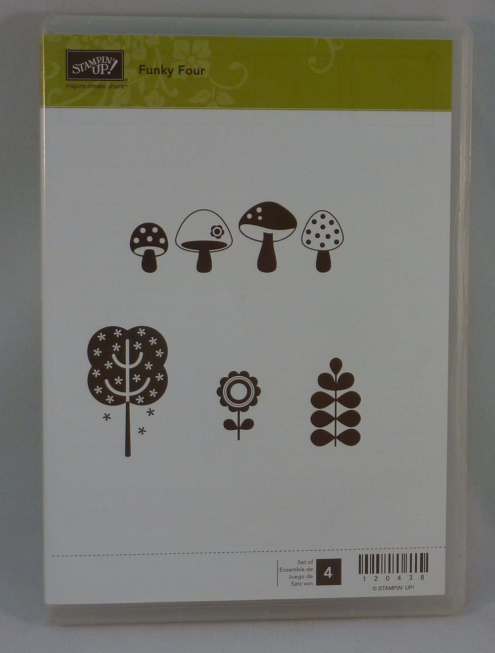 Stampin' Up Sacramento Mall FUNKY Japan's largest assortment FOUR Set of Stamps 4 Rubber Decorative Retire