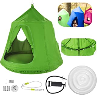 OrangeA Hanging Tree Tent Green Hanging Tree Tent for Kids 46 H x 43.4 Diam Hanging Tree House Tent Waterproof Portable In...