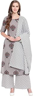 Stylum Women's Floral Printed Cotton Casual Straight Kurta Palazzo Dupatta Set (Grey)