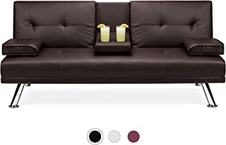 Best Choice Products Faux Leather Upholstered Modern Convertible Folding Futon Sofa Bed for Compact Living Space, Apartmen...