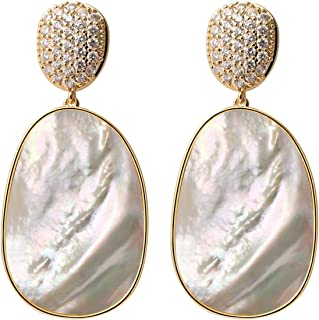 Gold Statement Cubic Zirconia Dangle Earrings for Women Fashion Large White Shell Cz Cluster Drop Earrings Scallop Shell Metal Dangle Earrings Elegant Wedding Bride Bridesmaid Earrings for Girls