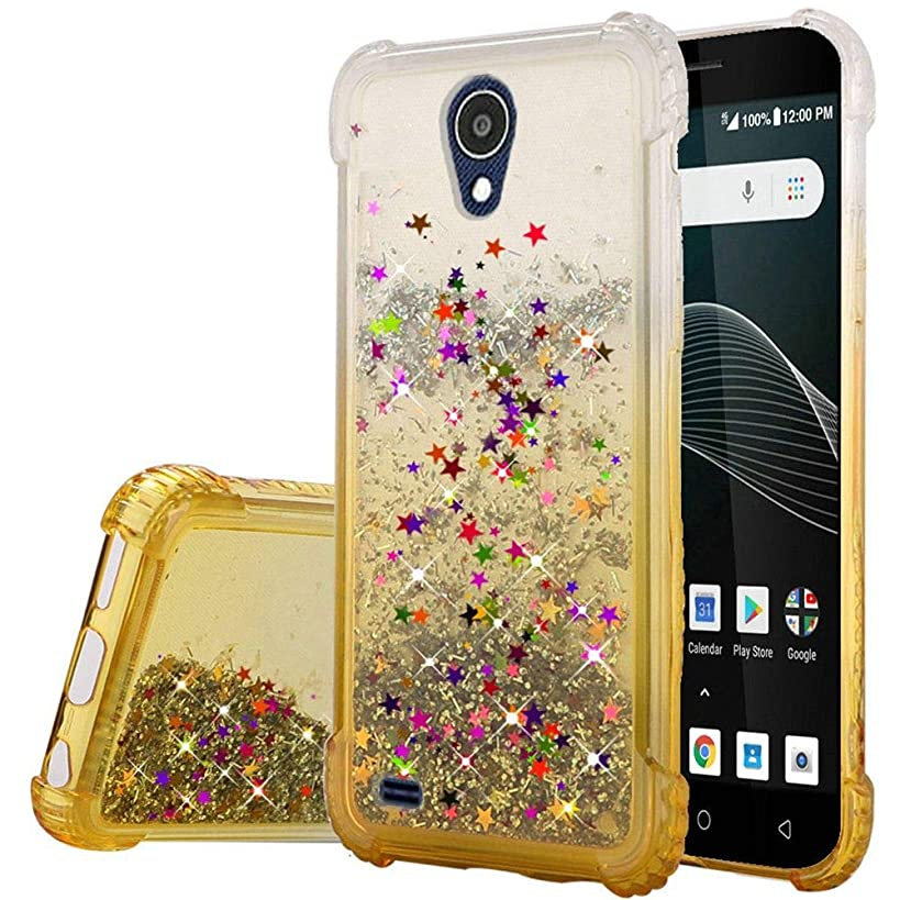 AT&T Axia QS5509A, Cricket Vision DQON5001 Glitter Liquid Quicksand Waterfall Floating Flowing Sparkle Shiny Bling Diamond Girls Cute Case for AT&T Axia,Cricket Vision (Gold)