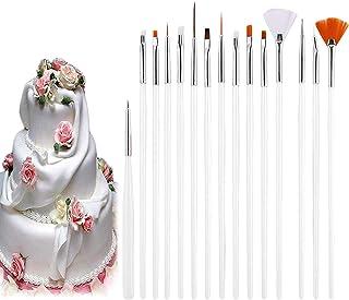 Voarge Lot de 15 pinceaux de peinture pour gâteau, fondant, pâtisserie, décoration - Pinceaux pour bricolage, argile, arti...
