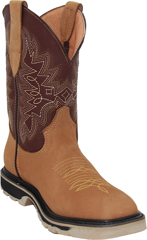 Men's Leather Square Toe Work Western 新作 返品不可 大人気 Boot