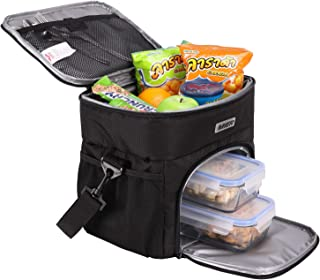 MIER Dual Compartment Insulated Lunch Box Bag Cooler Tote Meal Prep Bag for Fitness, Picnic, Beach, Travel, Work, Car, Grocery, Camping, Black