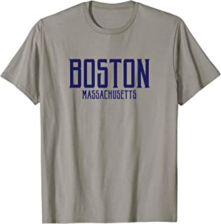 Boston Vintage Sign Style Text Navy Blue Print T-Shirt
