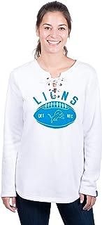 Icer Brands NFL Detroit Lions Women's Fleece Sweatshirt Lace Long Sleeve Shirt, Small, White