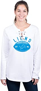 Icer Brands NFL Detroit Lions Women's Fleece Sweatshirt Lace Long Sleeve Shirt, X-Large, White