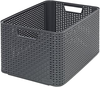 CURVER | Rangement Style Aspect rotin L, Anthracite, Storage Others, 43,6x32,6x23 cm