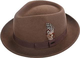 Men Fedora Hats with Feather Australia Wool Felt Trilby Hat