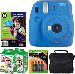 Fujifilm instax Mini 9 Instant Film Camera (Cobalt Blue) + Freez-A-Frame Magnetic Photo Pockets + Fujifilm Instax Film (40 Shots) + Small Case (Black) + 4 AA Batteries – Top Value Accessory Bundle