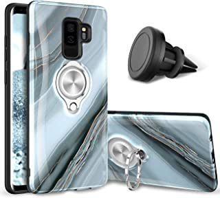 eSamcore Galaxy S9 Plus Case – Luxury Marble Ring Holder Phone Cases + Vent Car Phone Mount for Samsung Galaxy S9+ 6.2 Inch [Granite Gray]