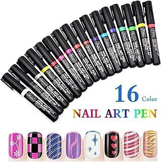 16PCS Nail Art Pen Painting Kit Drawing Dotting Nail Polish Pen 3d Nail Design Beauty Tools For Uv Gel Polish Assorted Colour