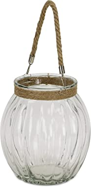 Cheung's 15S009 Ribbed Glass Jar with Rope, Brown