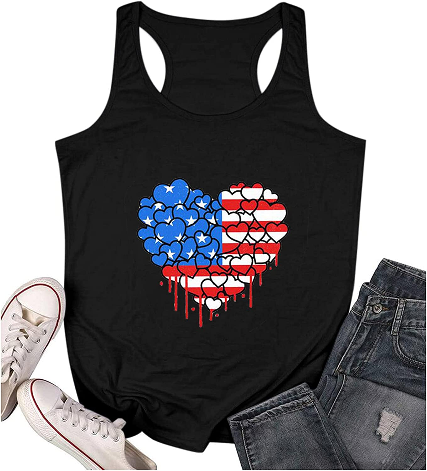 Aukbays Womens Summer Tops 4th of July Tank Tops for Women Sleeveless Loveheart US Flag Camisole Graphic Tees Shirts