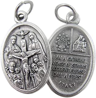 Religious Gifts Silver Tone Catholic 4-Way Scapular Medal with Cross and Dove, 3/4 Inch
